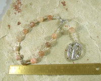 Hekate (Hecate) Pocket Prayer Beads in Moonstone: Greek Goddess of Magic and Witchcraft - Hearthfire Handworks
