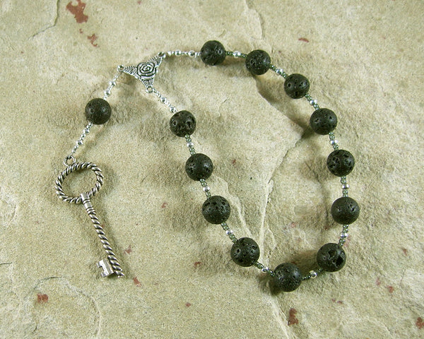 Hekate (Hecate) Pocket Prayer Beads in Black Lava: Greek Goddess of Magic and Witchcraft - Hearthfire Handworks