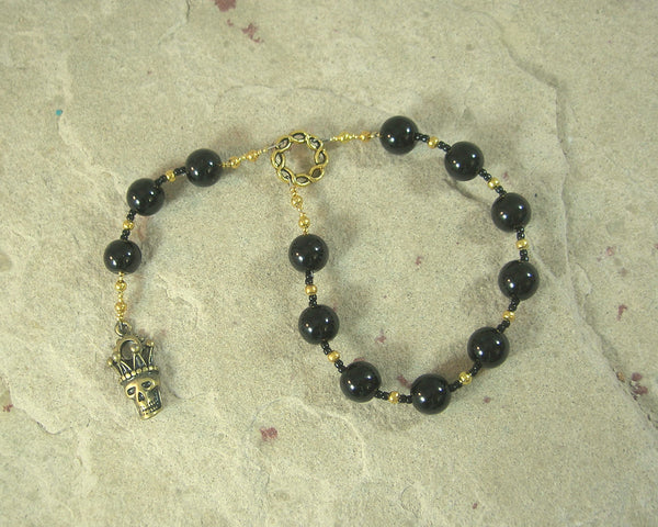 Hel (Hella) Pocket Prayer Beads in Black Onyx: Norse Goddess of Death, Ruler of the Underworld