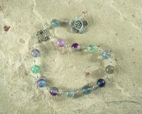Hypnos Pocket Prayer Beads in Rainbow Fluorite: Greek God of Sleep - Hearthfire Handworks