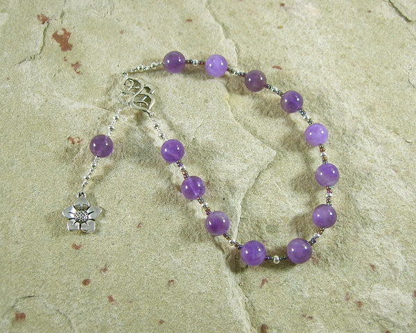 Hypnos Pocket Prayer Beads in Amethyst: Greek God of Sleep - Hearthfire Handworks
