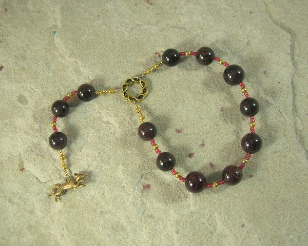Loki Pocket Prayer Beads in Garnet: Norse God of Chaos, Change, Transformation