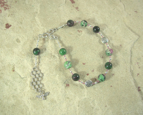 Nantosuelta Pocket Prayer Beads in Ruby/Zoisite: Gaulish Celtic Goddess of Fertility, Abundance, and Home Arts