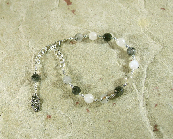 Nyx Prayer Bead Bracelet in Rutilated Quartz: Greek Goddess of the Night - Hearthfire Handworks