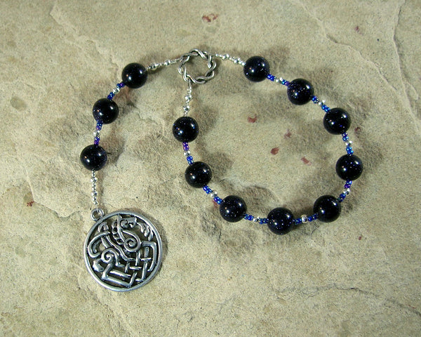 Odin (Woden) Pocket Prayer Beads in Blue Goldstone: Norse God of Battle, Magic, Runes, Wisdom - Hearthfire Handworks