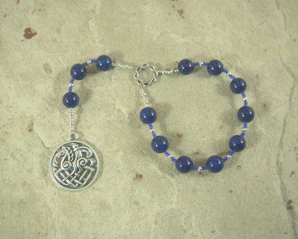 Odin (Woden) Pocket Prayer Beads in Lapis Lazuli: Norse God of Battle, Magic, Runes, Wisdom