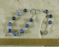 Odin (Woden) Pocket Prayer Beads in Sodalite: Norse God of Battle, Magic, Runes, Wisdom - Hearthfire Handworks