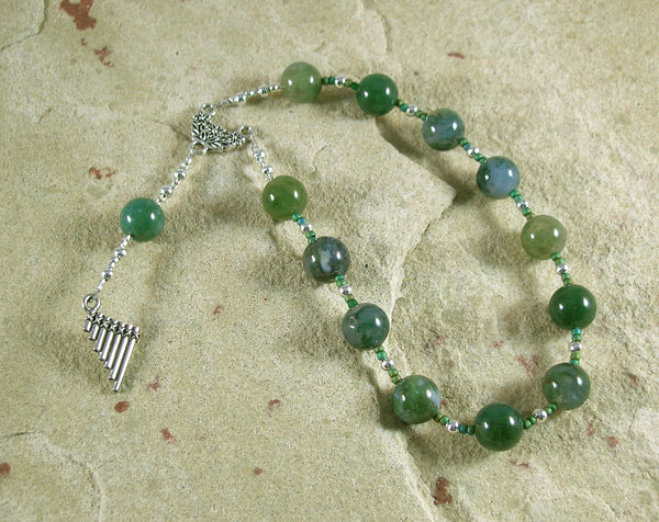 Pan Pocket Prayer Beads in Moss Agate: Greek God of the Forest, Mountains, Country Life - Hearthfire Handworks