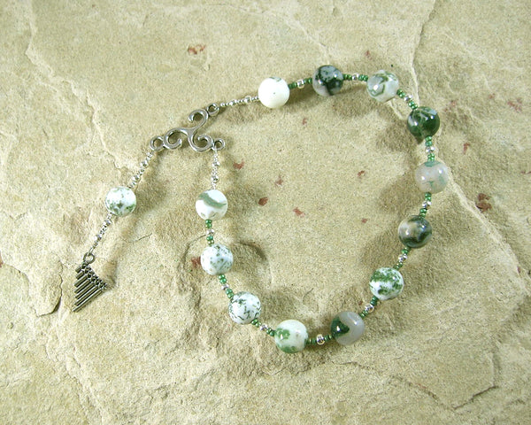 Pan Pocket Prayer Beads in Tree Agate: Greek God of the Forest, Mountains, Country Life