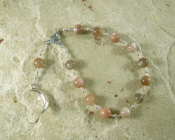 Selene Pocket Prayer Beads in Moonstone: Greek Goddess of the Moon - Hearthfire Handworks