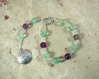 Sigyn Pocket Prayer Beads in Rainbow Fluorite: Norse Goddess of Devotion and Love, Bride of Loki - Hearthfire Handworks