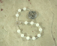 Skadhi (Skadi) Pocket Prayer Beads in Cracked Crystal Quartz:  Norse Goddess of Winter and the Wild