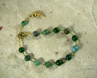 Sobek Pocket Prayer Beads in Moss Agate: Egyptian God of Fertility, Protection and the Military - Hearthfire Handworks