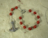 Thor Pocket Prayer Beads in Red Jasper: Norse God of Thunder, Protector of Humanity - Hearthfire Handworks
