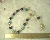 Goddess Prayer Beads with Venus of Willendorf/Fertility Goddess Pendant in Ruby/Zoisite