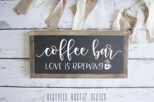 Coffee Bar Love is Brewing Framed Sign