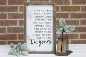 I'm Yours Lyrics Sign, Country Song Lyrics, Thank God I'm Yours