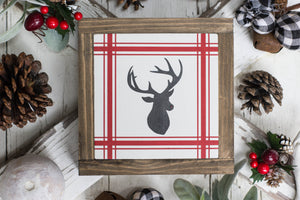 Rudolph Gingham Christmas Sign