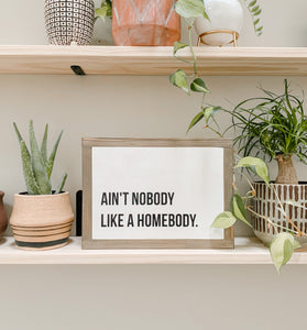 Aint Nobody like a Homebody Framed Sign
