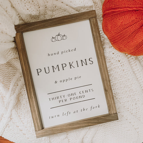 Hand-Picked Pumpkins & Apple Pie Framed Farmhouse Sign
