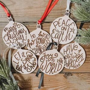 Laser Engraved Christmas Ornaments, Set of 6, 2020 Christmas Ornaments.