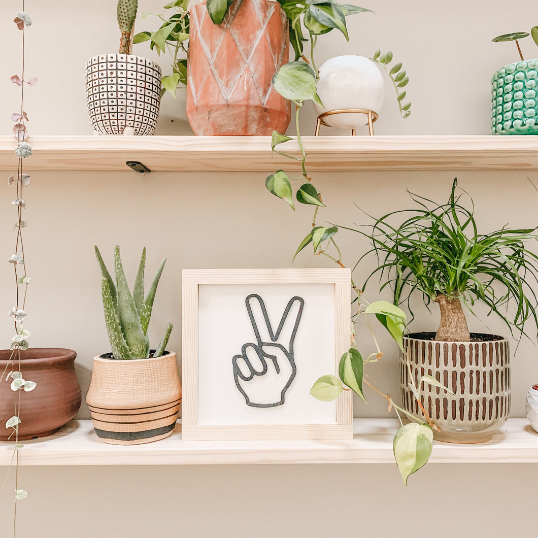 Peace Hand Gesture 3D Framed Sign