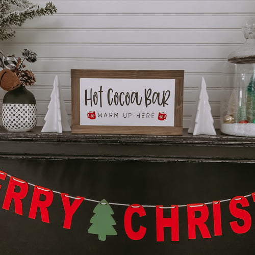 Hot Cocoa Bar Warm Up Here Framed Sign