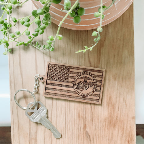 Laser Engraved American Flag Keychain Laser Engraved American Flag USMC Keychain, Patriotic Keychain, Military, July 4th, Gifts for Him, Fathers Day, Car Keys, Marine Corps