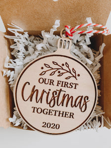 Our First Christmas Together, Laser Engraved Christmas Ornaments, 2020 Christmas Ornaments, Couples Ornament