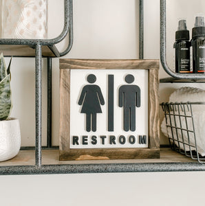 Restroom 3D Wood Cut Out Farmhouse Sign