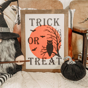 Copy of Trick Or Treat with Moon & Owl Halloween Sign