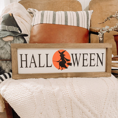 Halloween with Moon & Witch Framed Wood Sign