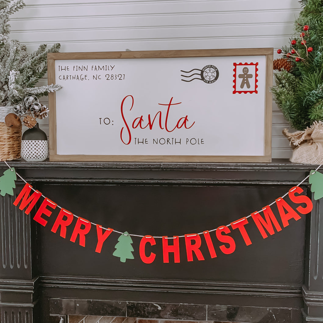 Personalized Letter to Santa Framed Sign
