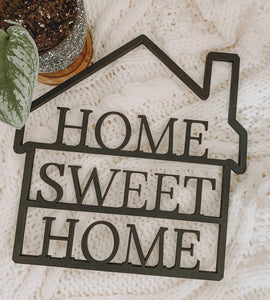 Home Sweet Home Painted Wood Cut-out Sign