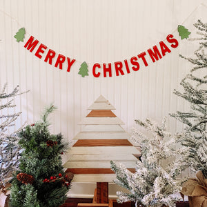 Merry Christmas Wood Banner, Handmade Banner, Christmas Garland, Merry Christmas DIY, Paint it Yourself.