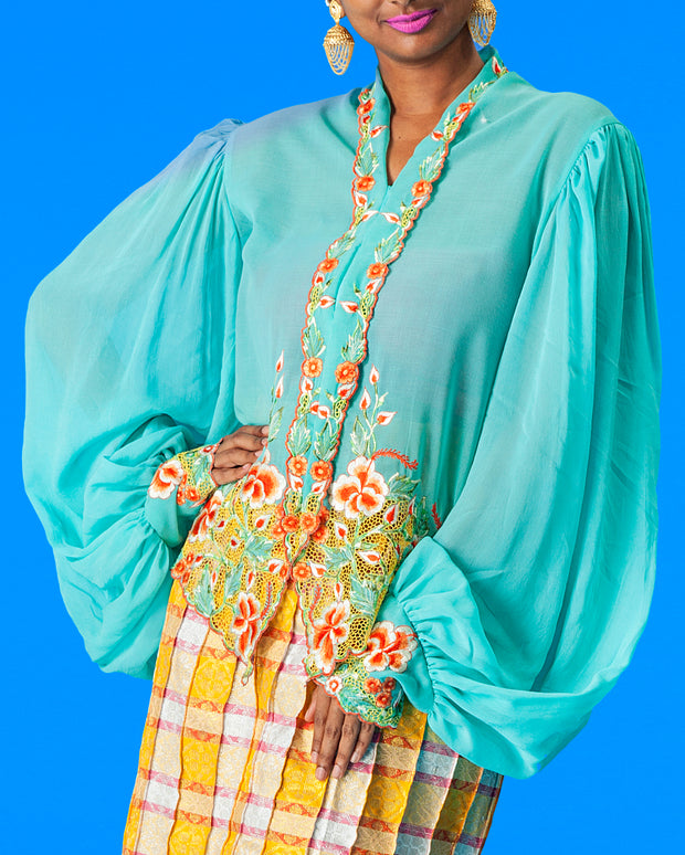 Upcycled Kebaya with Puff Sleeve (Turquoise)