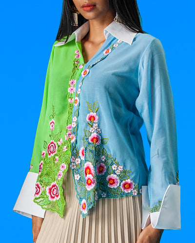 Upcycled Kebaya Shirt (Blue and Green)