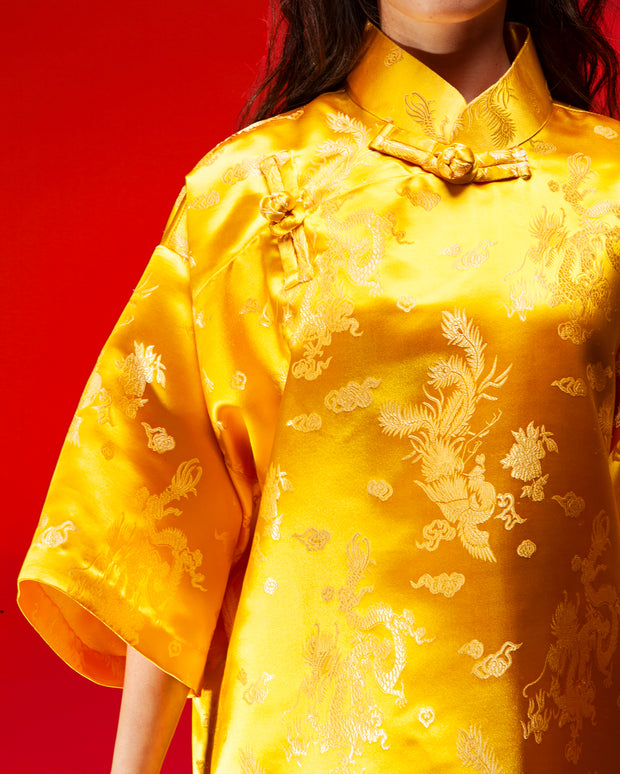 Cheongsam Oversaiz (Yellow Brocade)
