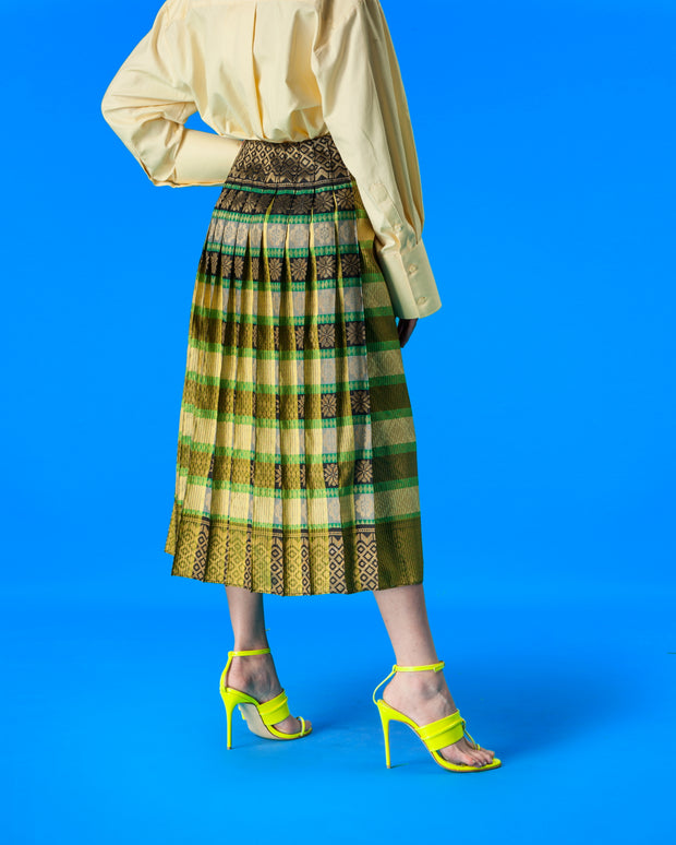 Upcycled Kipas Songket Skirt (yellow green)