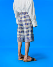 Upcycled Songket Bermuda Pants (Blue)