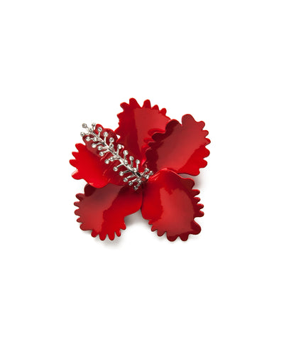 Hibiscus Brooch in Red