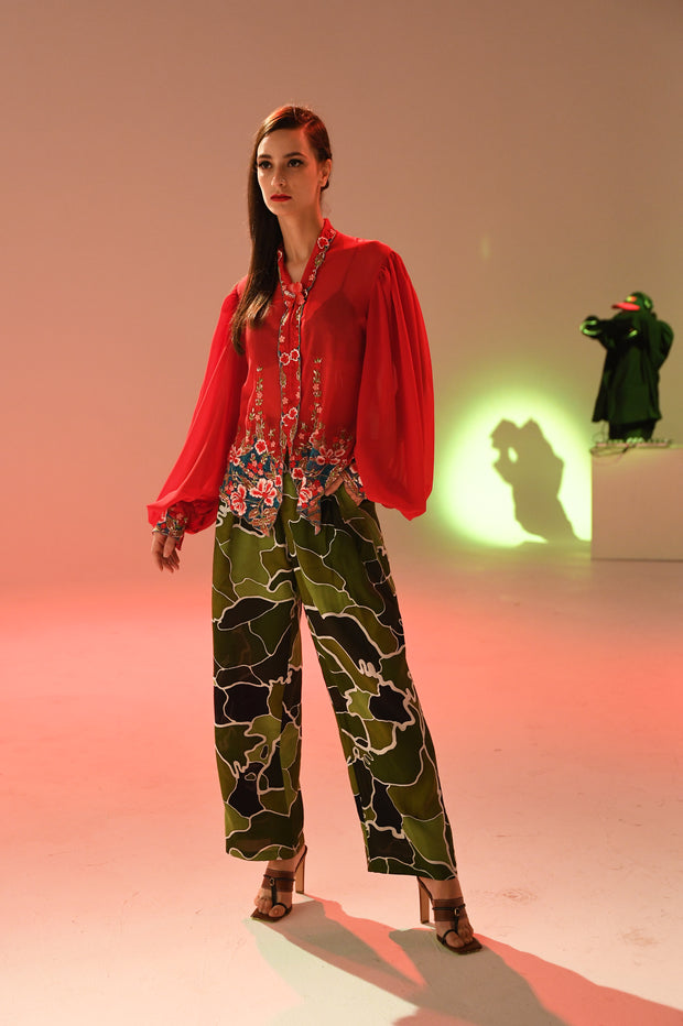 KLFW Red Upcycled Kebaya