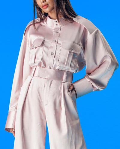 Military Shirt with Butang Baju Melayu in Dusty Pink