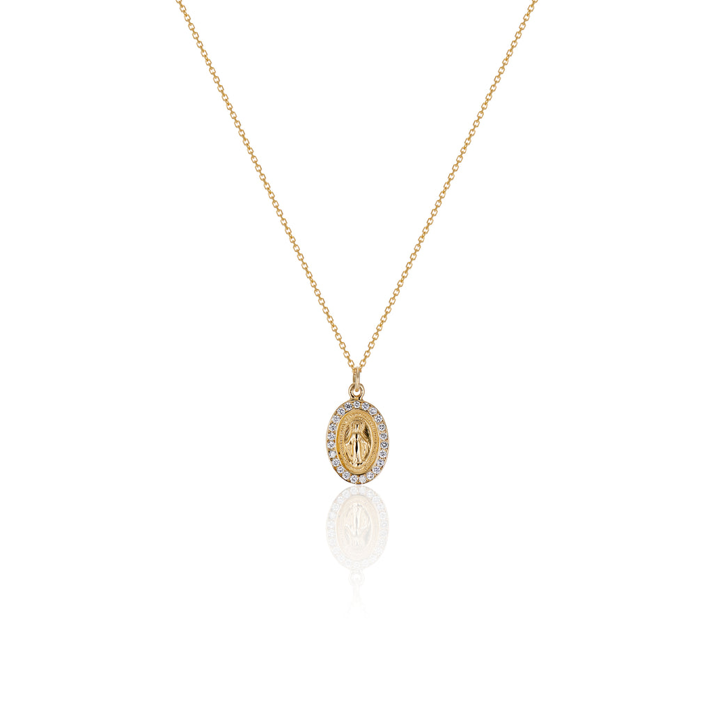 Diamond Miraculous Medal Necklace - Charlie and Marcelle
