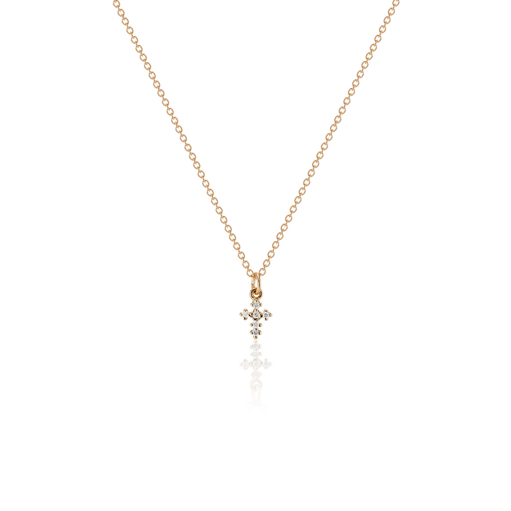 Bitty Baby Diamond Cross Necklace - Charlie and Marcelle