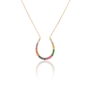Rainbow Horseshoe Necklace - Charlie and Marcelle