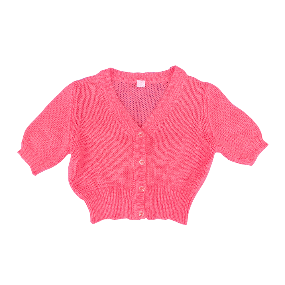 Fifi chachnil angora short sleeve cardigan (Candy Pink)