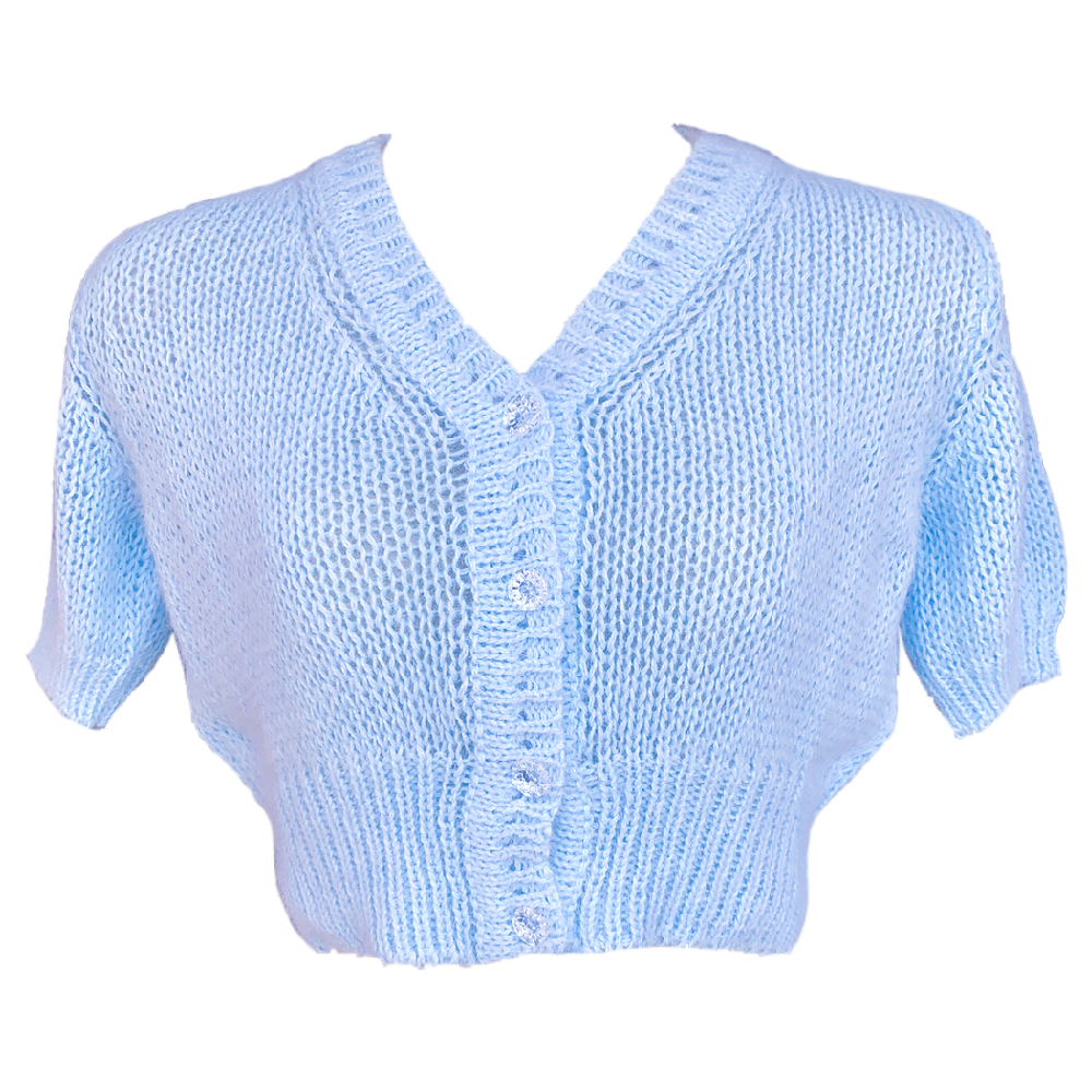 Fifi chachnil angora short sleeve cardigan (light blue)