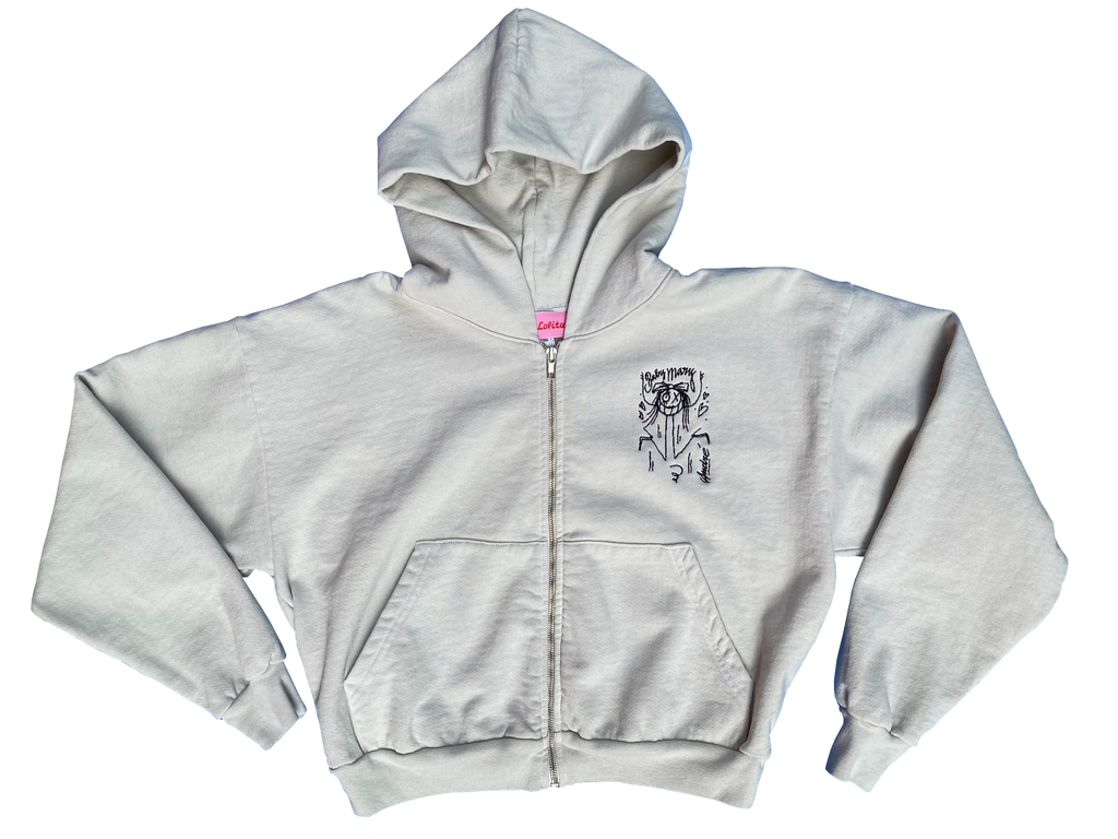 Baby mary × André Zip-up hoodie light grey