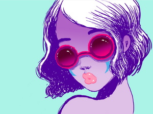 Fafi Glitter glasses art print A3